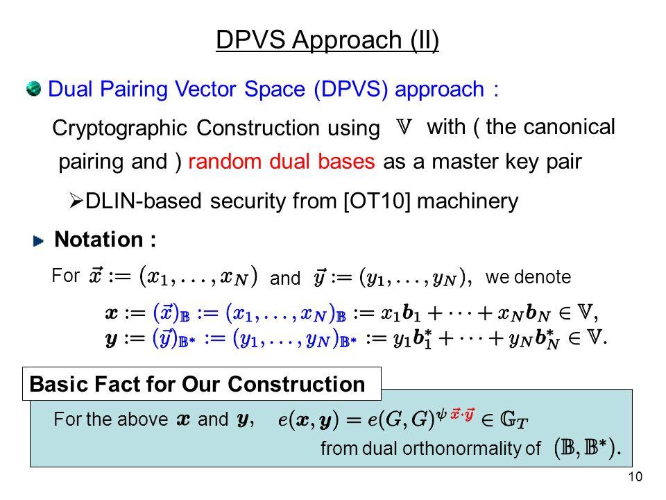 DPVS Approach (II) Dual Pairing Vector Space (DPVS) approach :