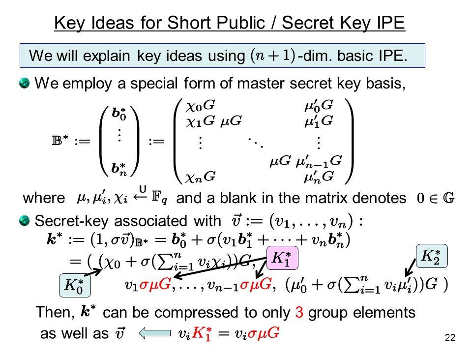 Key Ideas for Short Public / Secret Key IPE