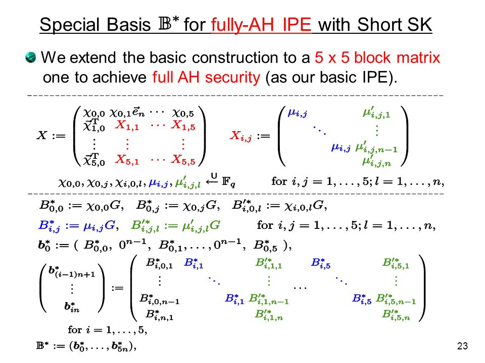 Special Basis for fully-AH IPE with Short SK