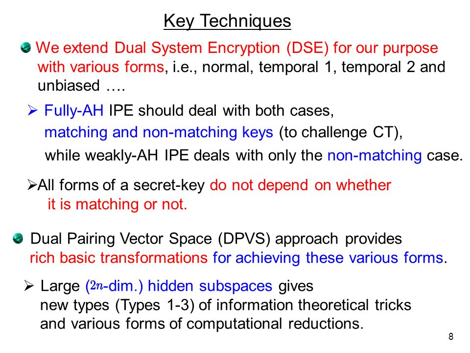 Key Techniques We extend Dual System Encryption (DSE) for our purpose
