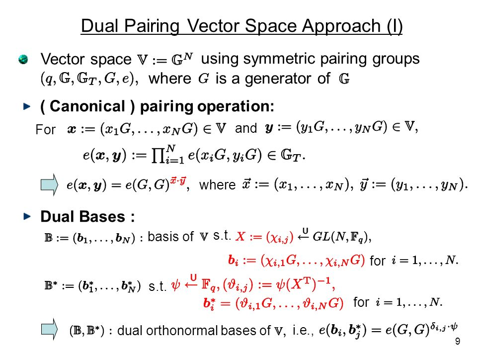 Dual Pairing Vector Space Approach (I)