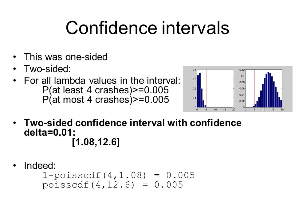 Confidence intervals This was one-sided Two-sided: