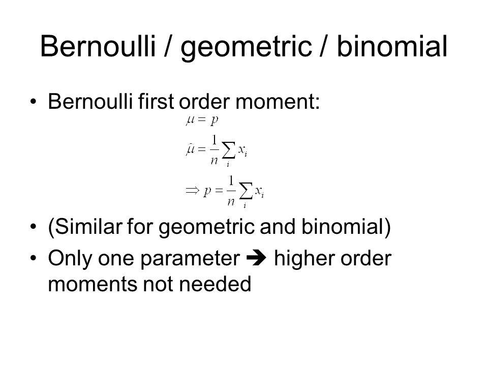 Bernoulli / geometric / binomial