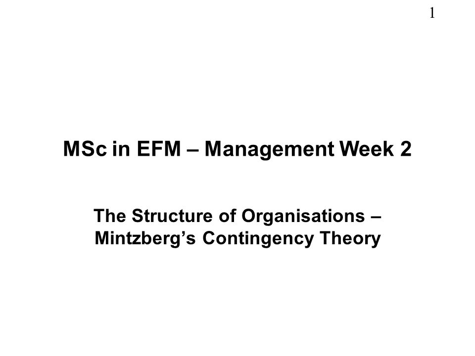 MSc in EFM – Management Week 2
