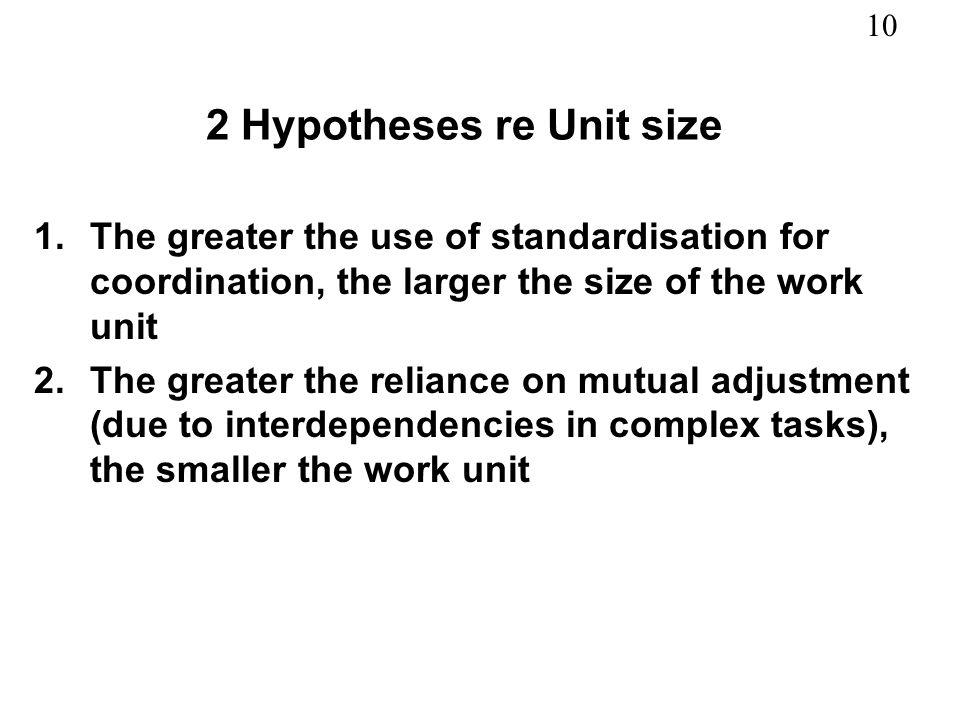 2 Hypotheses re Unit size
