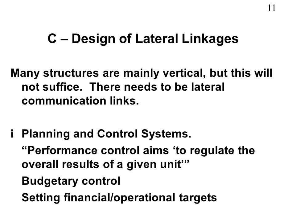 C – Design of Lateral Linkages