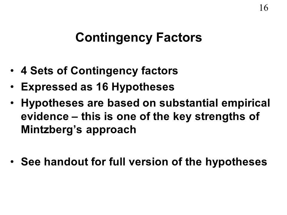 Contingency Factors 4 Sets of Contingency factors