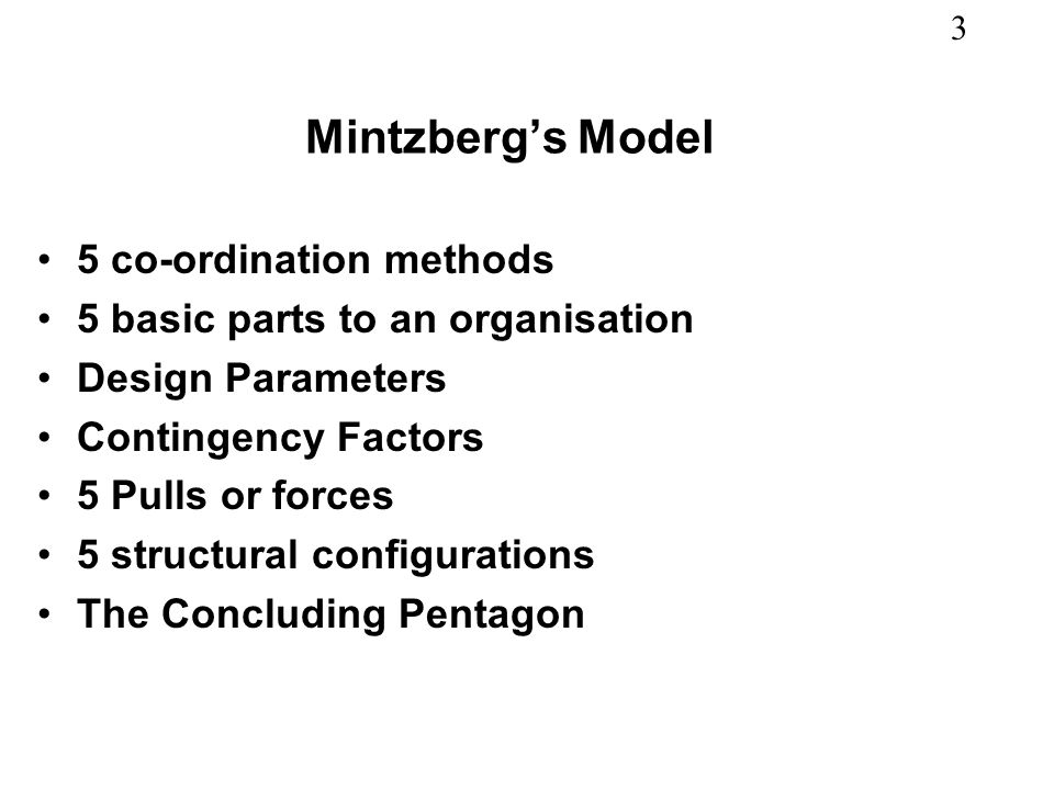 Mintzberg's Model 5 co-ordination methods