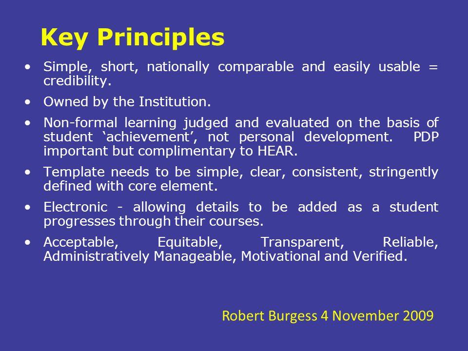 Key Principles Robert Burgess 4 November 2009