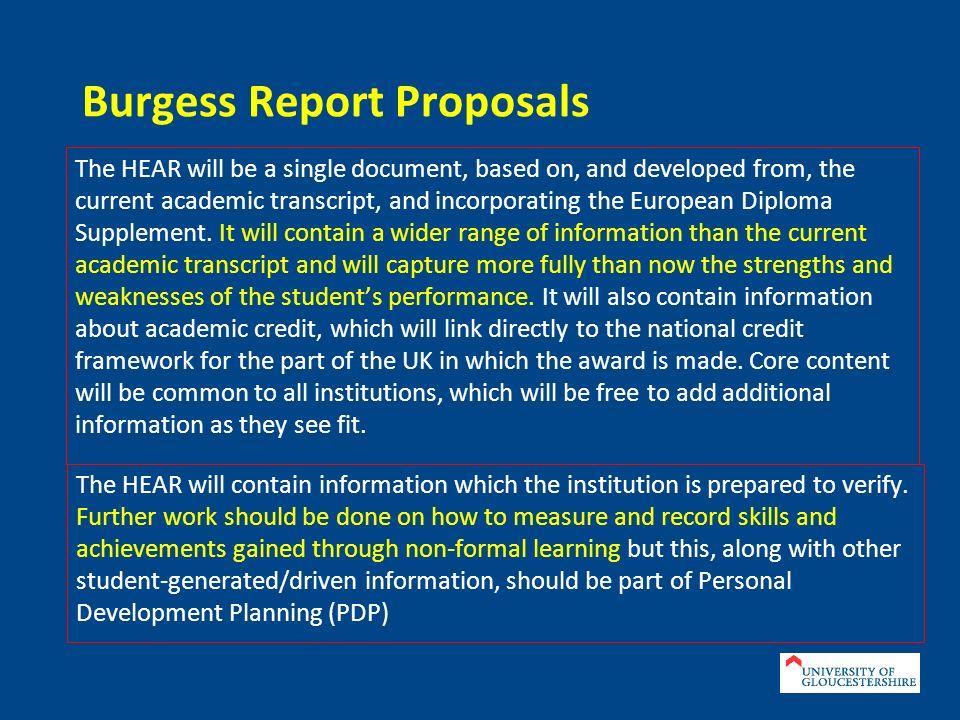 Burgess Report Proposals