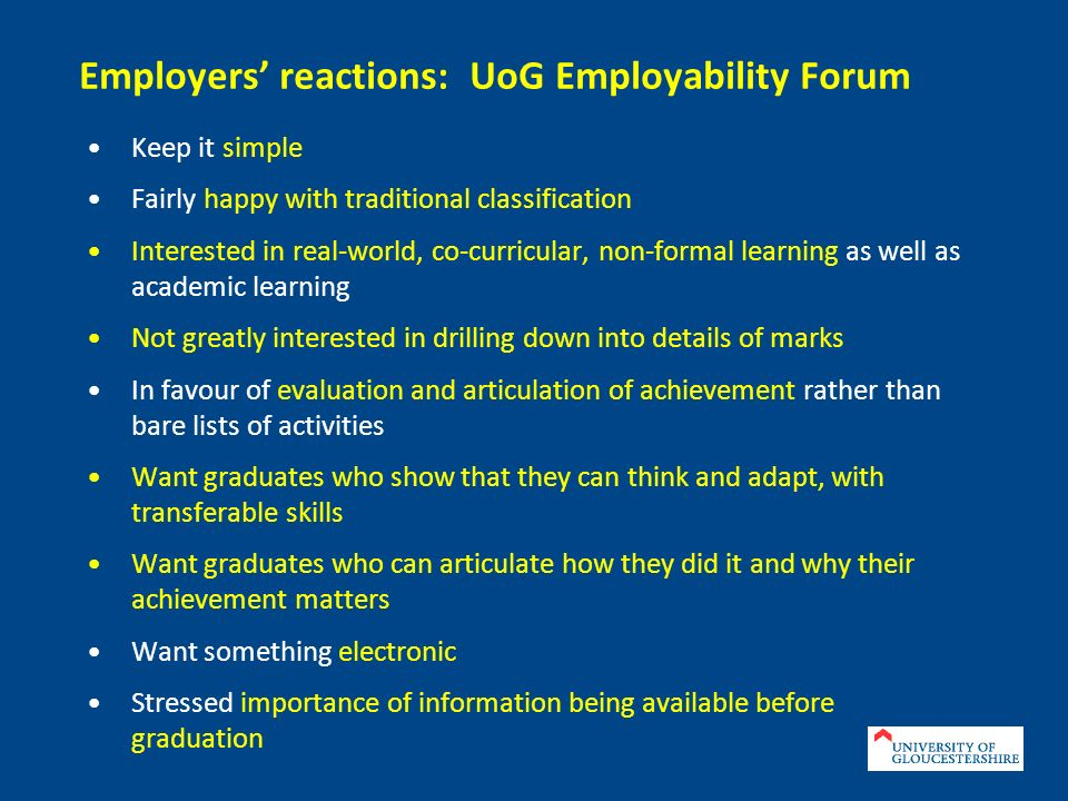 Employers' reactions: UoG Employability Forum
