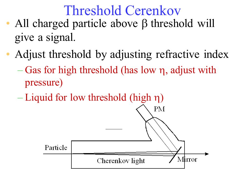 Threshold Cerenkov All charged particle above b threshold will give a signal. Adjust threshold by adjusting refractive index.