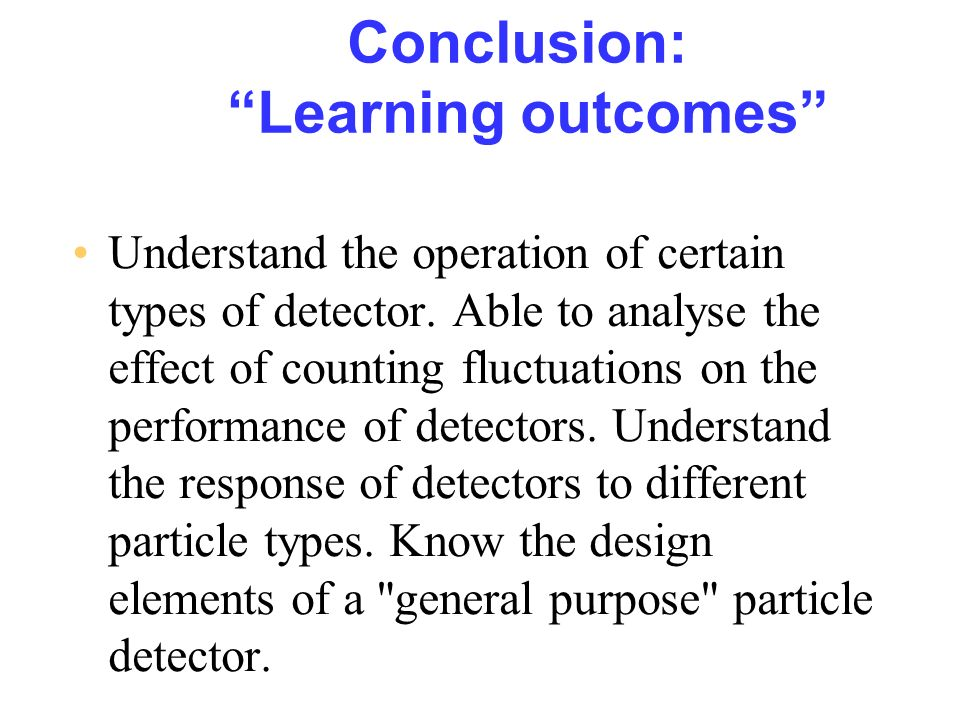 Conclusion: Learning outcomes