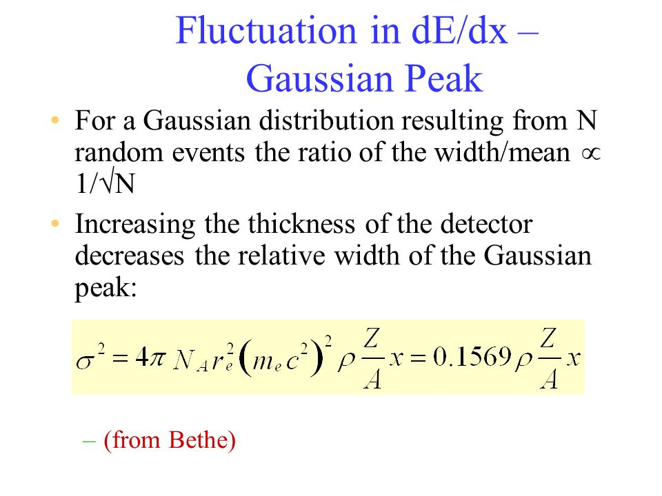 Fluctuation in dE/dx – Gaussian Peak