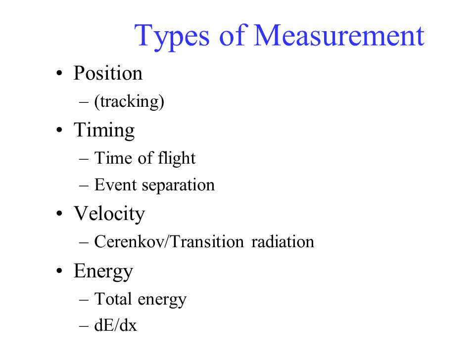 Types of Measurement Position Timing Velocity Energy (tracking)