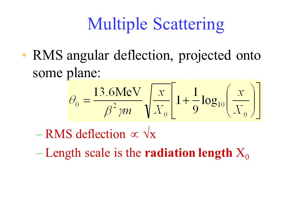 Multiple Scattering RMS angular deflection, projected onto some plane: