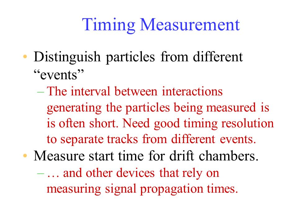 Timing Measurement Distinguish particles from different events