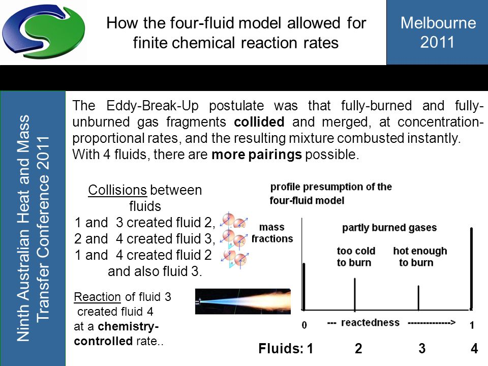 How the four-fluid model allowed for finite chemical reaction rates