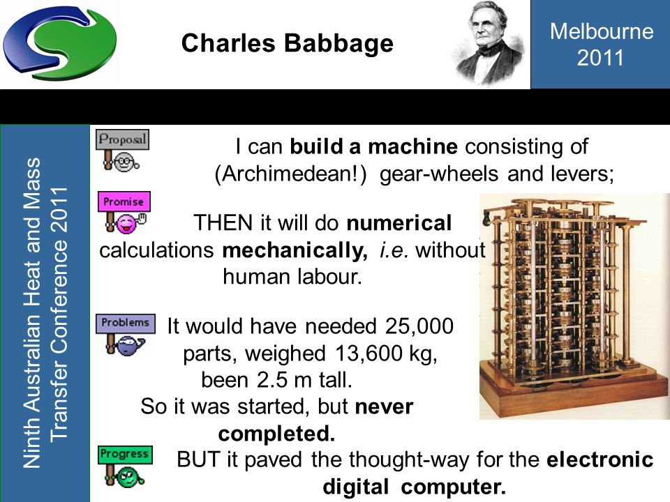 Charles BabbageI can build a machine consisting of (Archimedean!) gear-wheels and levers;