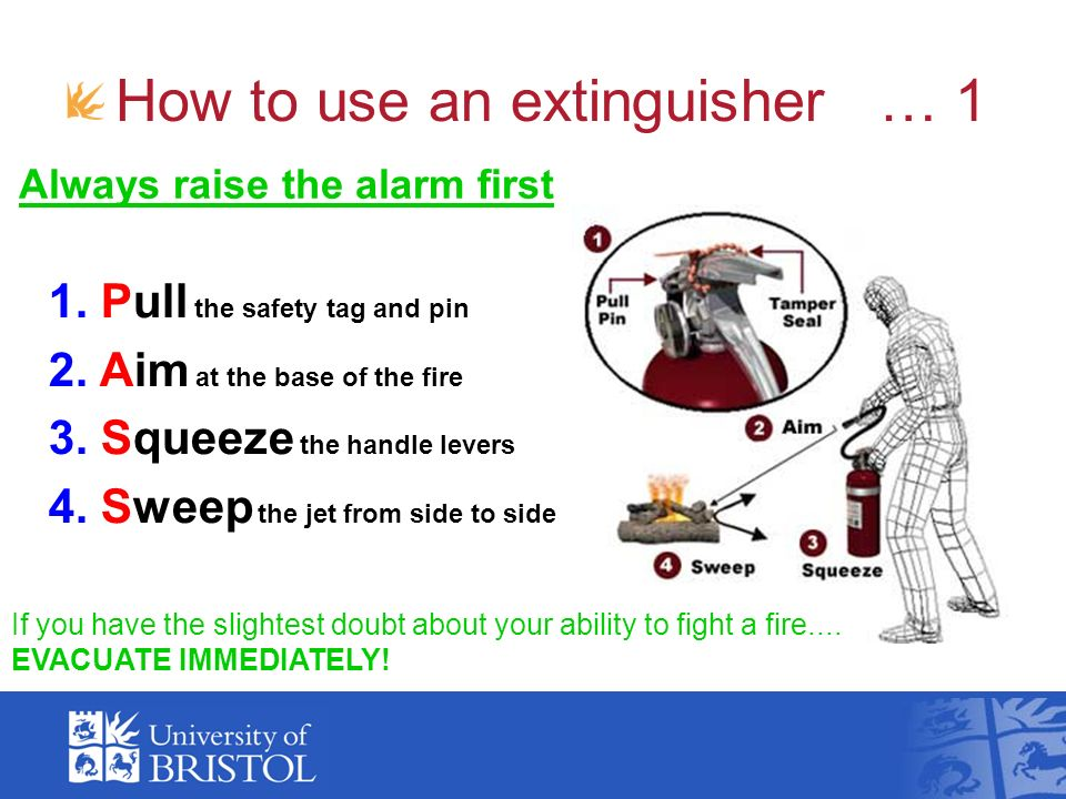How to use an extinguisher … 1