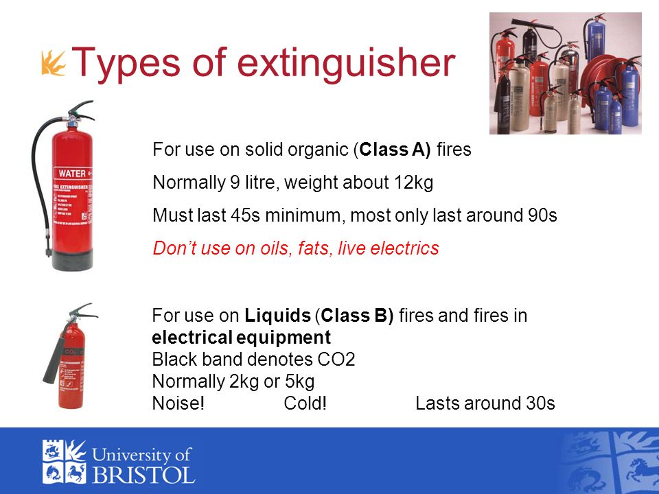 Types of extinguisher For use on solid organic (Class A) fires