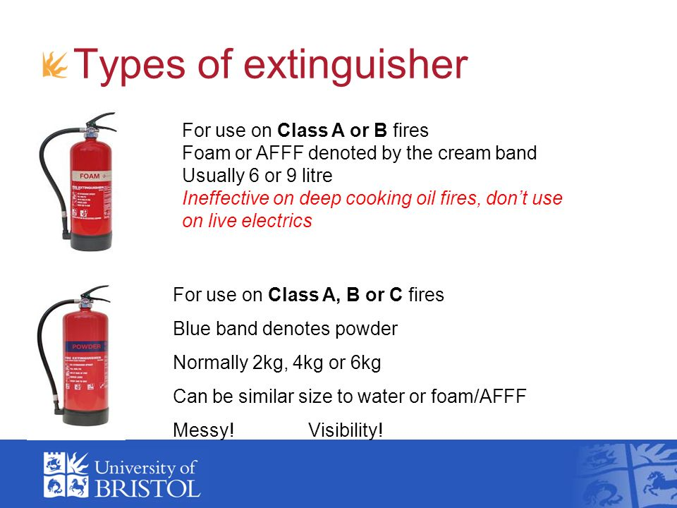 Types of extinguisher For use on Class A or B fires