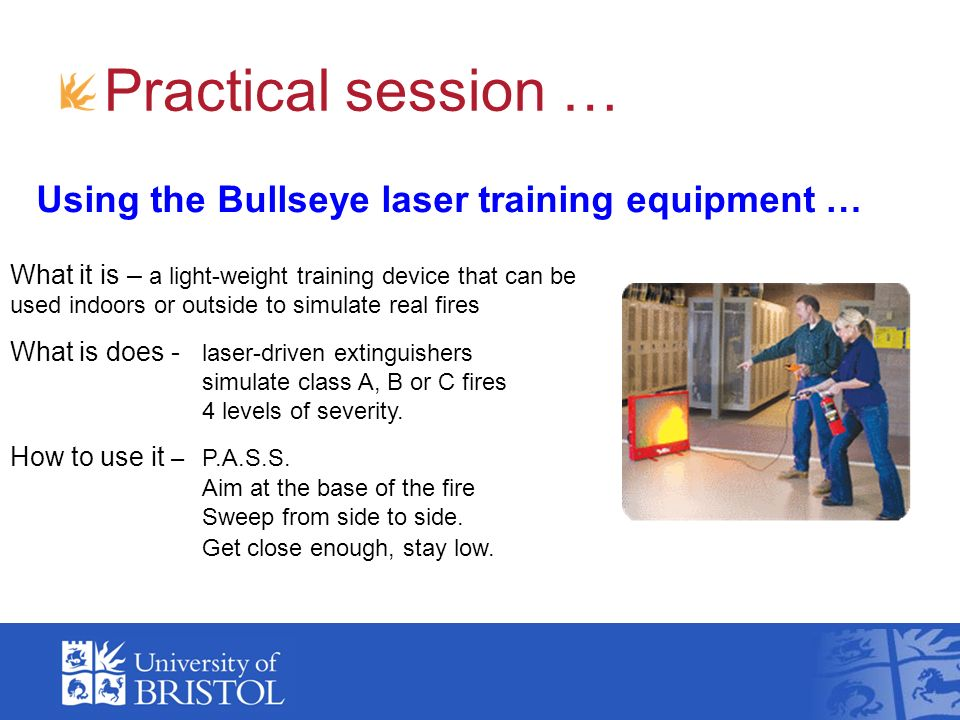 Practical session … Using the Bullseye laser training equipment …