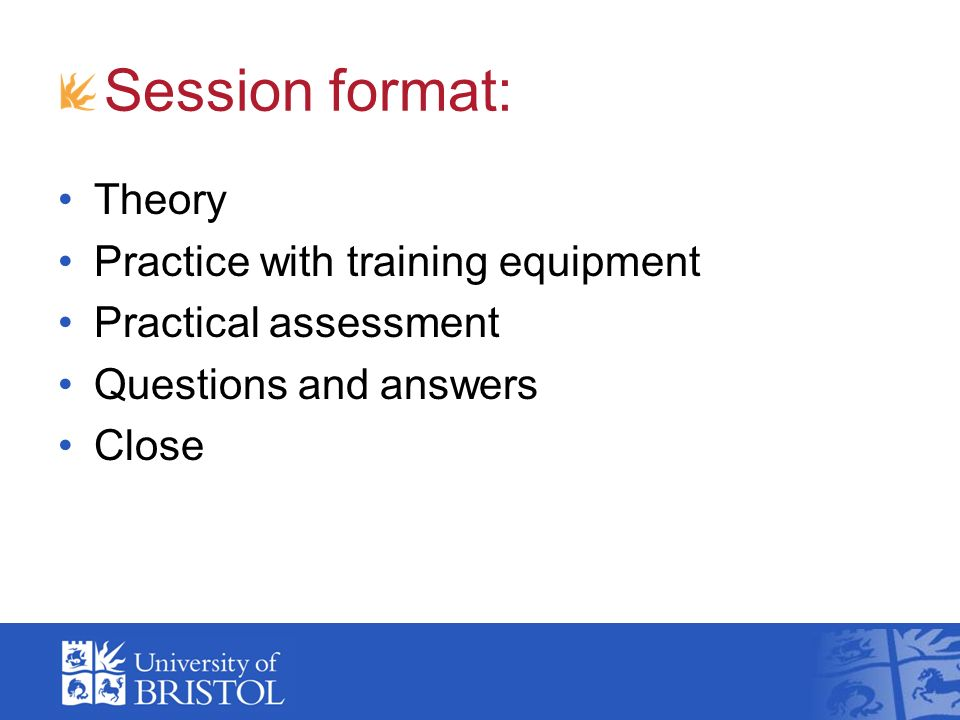 Session format: Theory Practice with training equipment