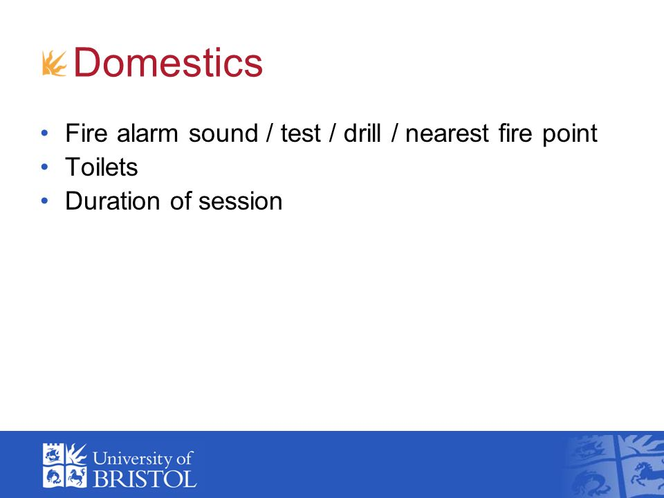 Domestics Fire alarm sound / test / drill / nearest fire point Toilets