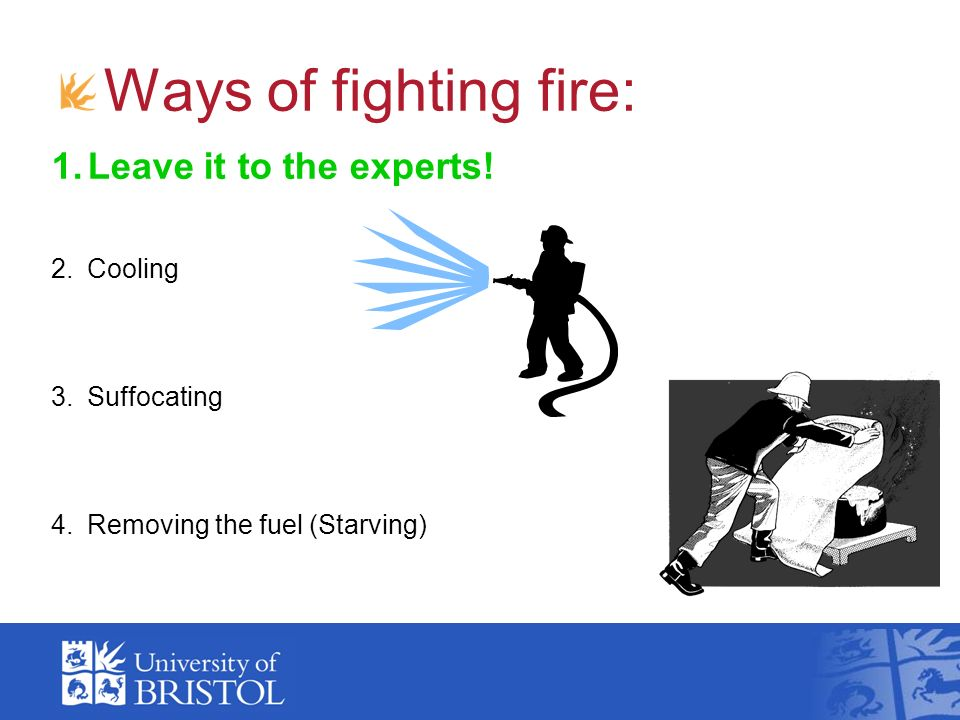 Ways of fighting fire: Leave it to the experts! Cooling Suffocating