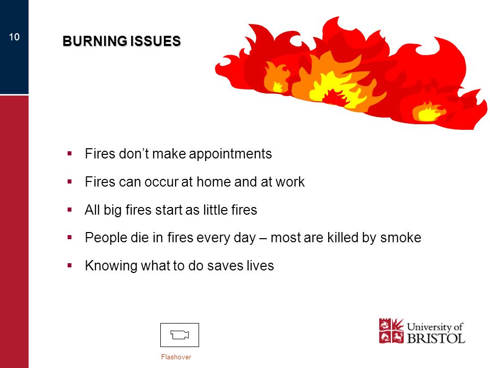 Fires don't make appointments Fires can occur at home and at work