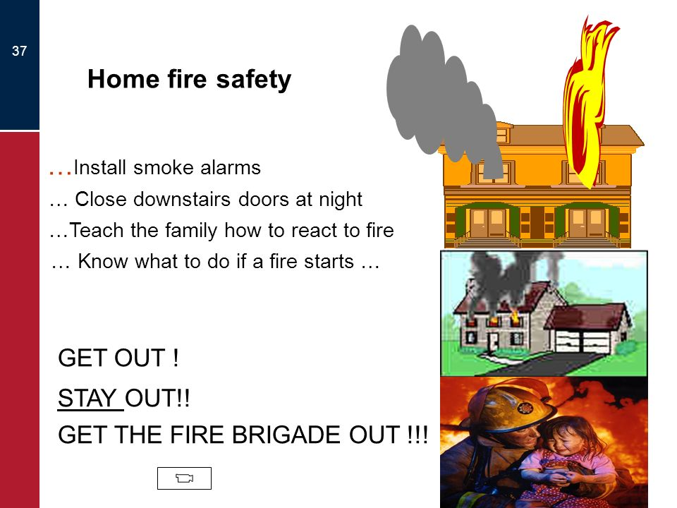 Home fire safety …Install smoke alarms GET OUT ! STAY OUT!!