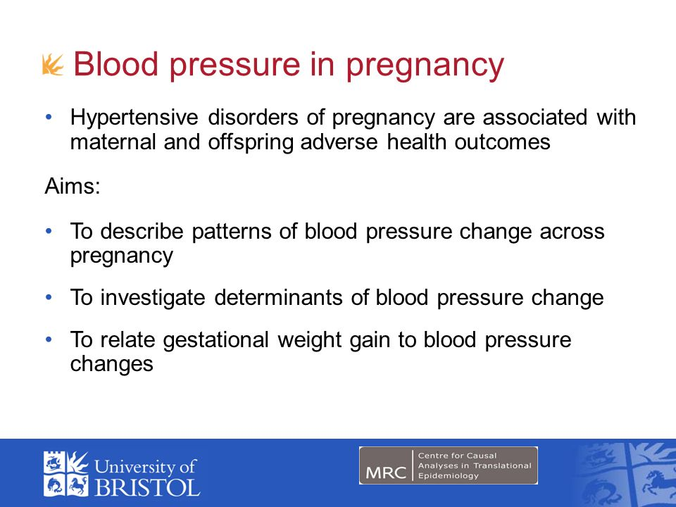 Blood pressure in pregnancy