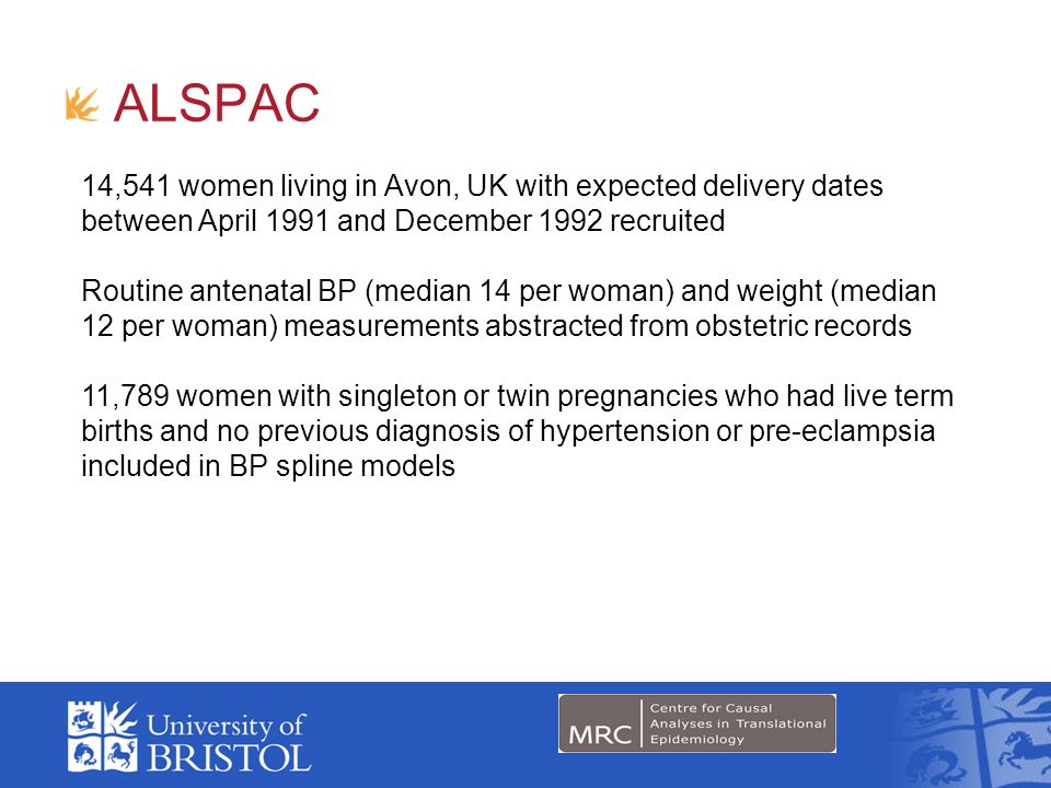 ALSPAC 14,541 women living in Avon, UK with expected delivery dates between April 1991 and December 1992 recruited.