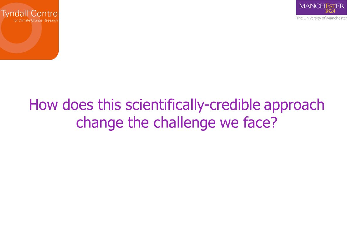 How does this scientifically-credible approach change the challenge we face