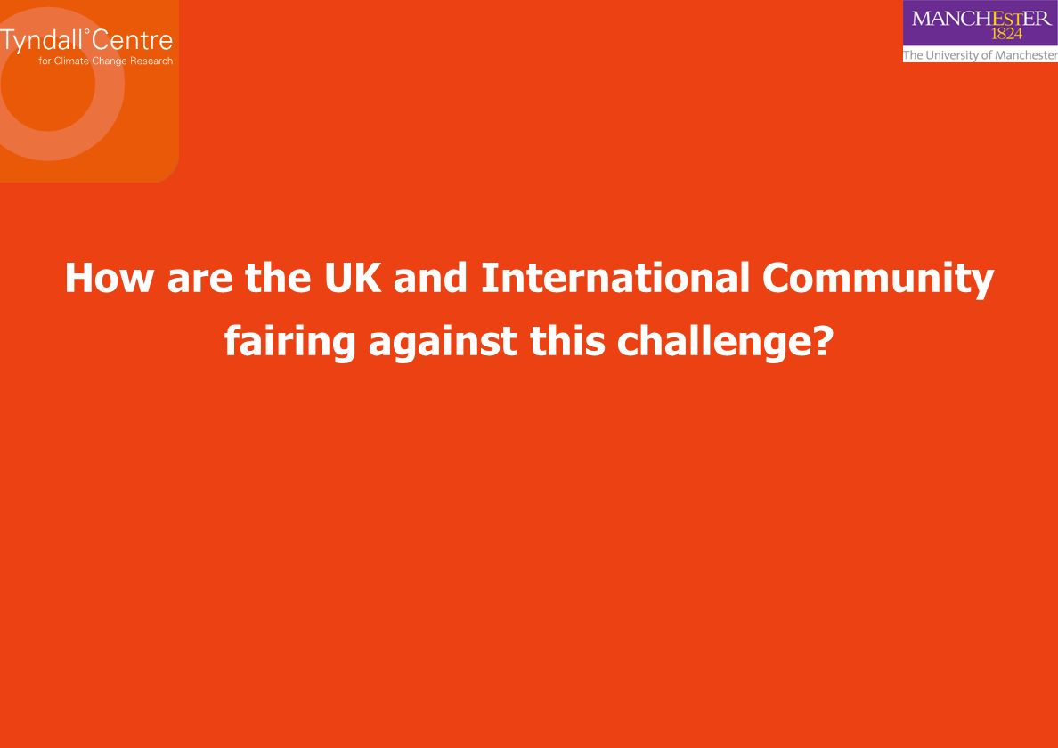 How are the UK and International Community fairing against this challenge
