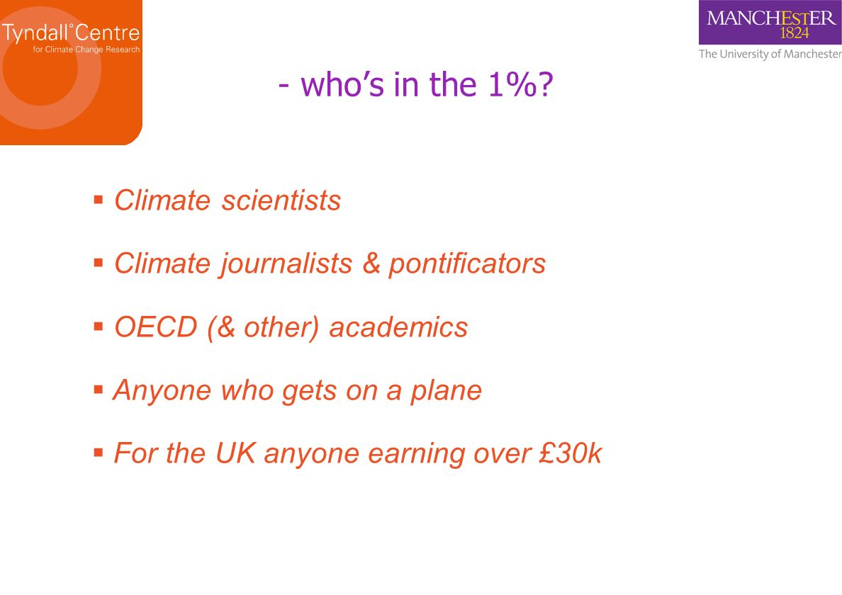 - who's in the 1% Climate scientists