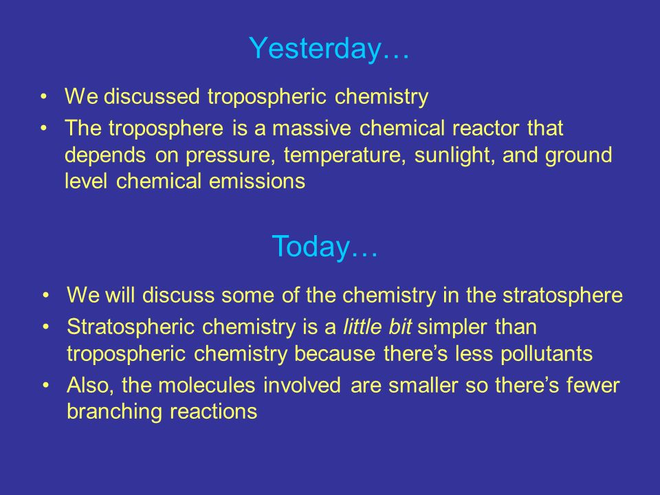 Yesterday… Today… We discussed tropospheric chemistry
