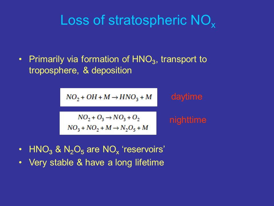 Loss of stratospheric NOx