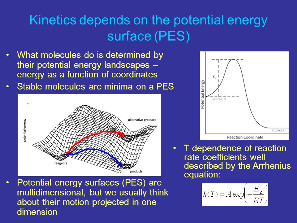 Kinetics depends on the potential energy surface (PES)