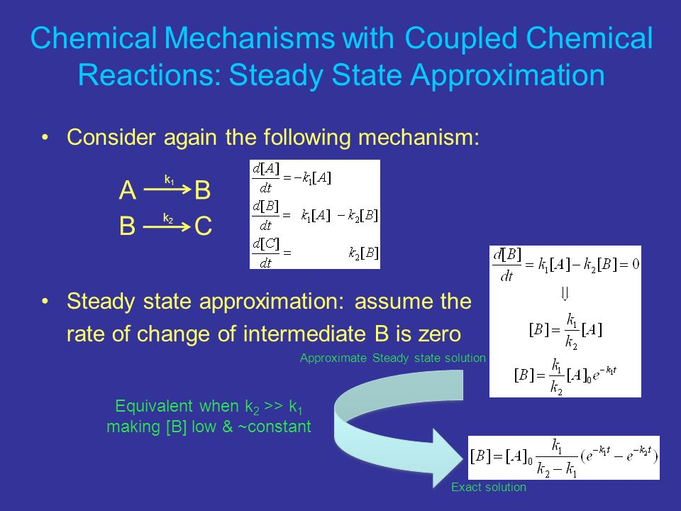Chemical Mechanisms with Coupled Chemical Reactions: Steady State Approximation