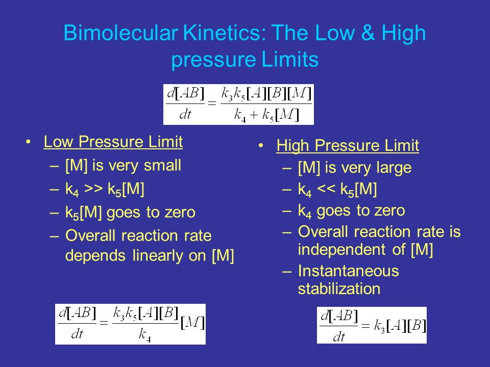 Bimolecular Kinetics: The Low & High pressure Limits
