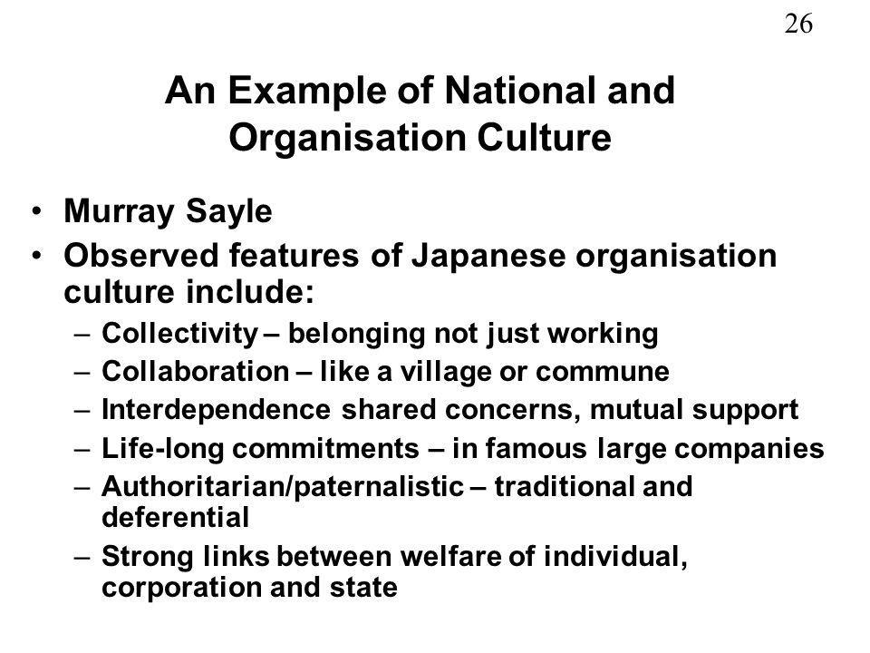 An Example of National and Organisation Culture
