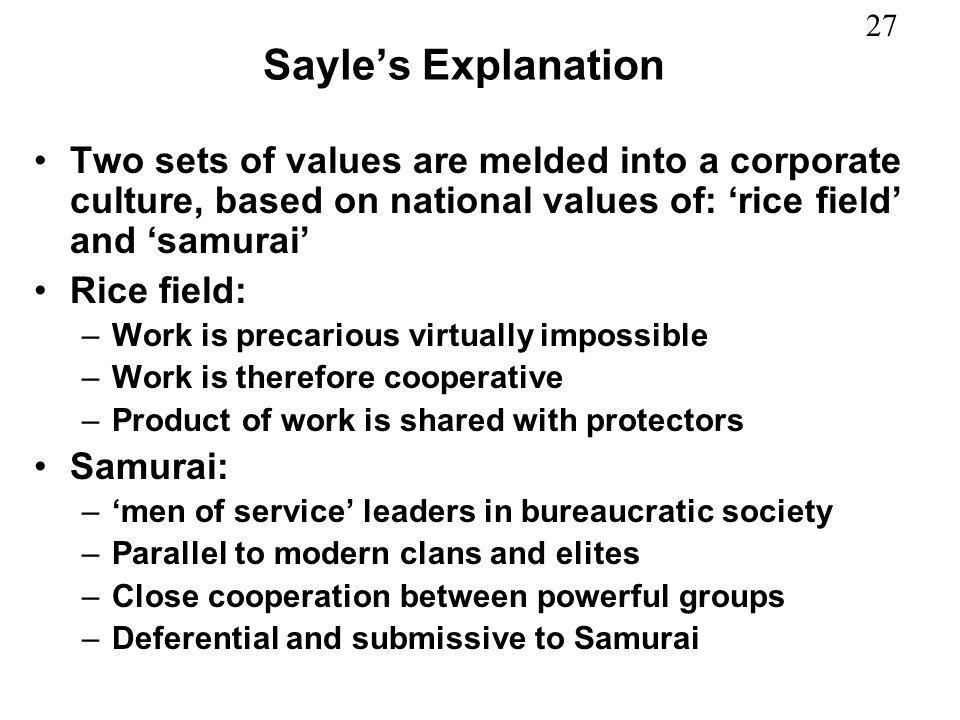 Sayle's Explanation Two sets of values are melded into a corporate culture, based on national values of: 'rice field' and 'samurai'