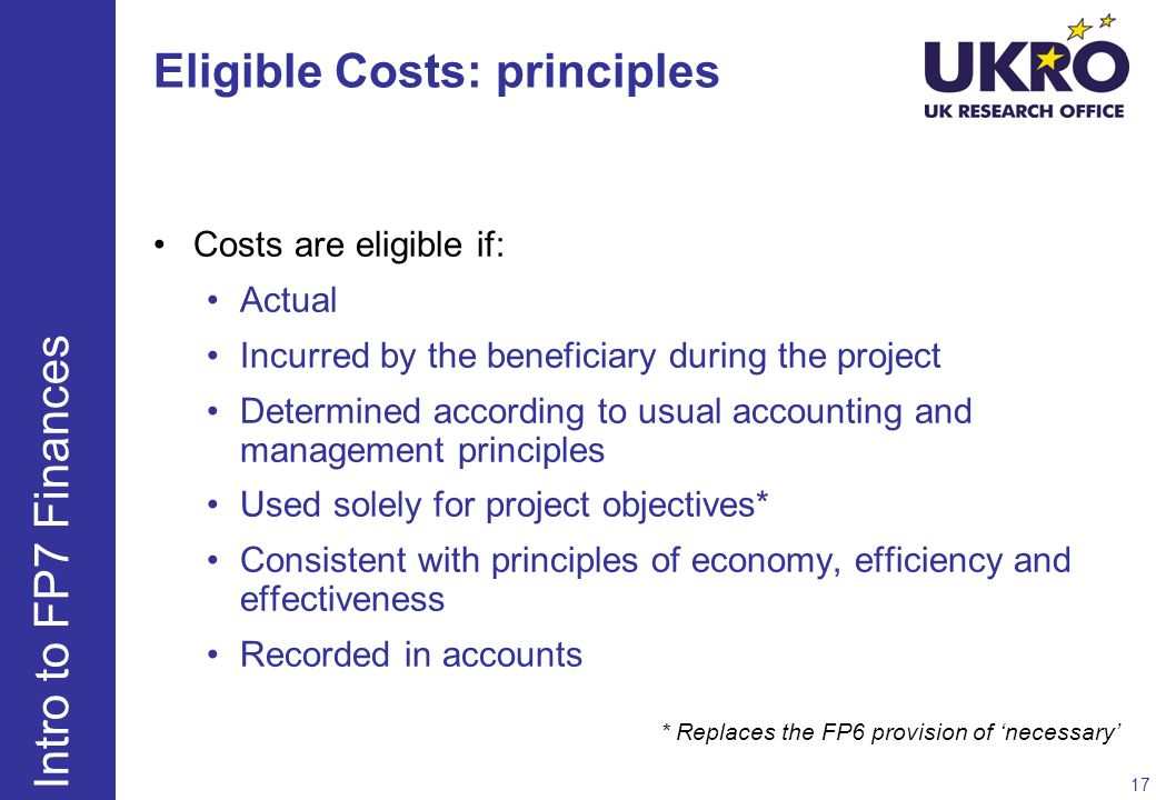 Eligible Costs: principles