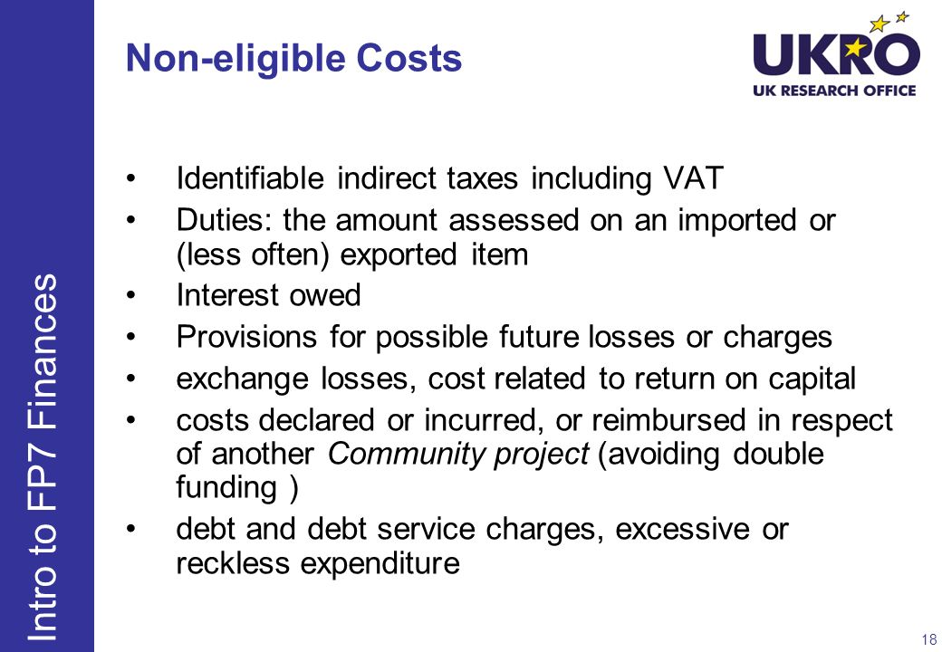 Non-eligible Costs Intro to FP7 Finances