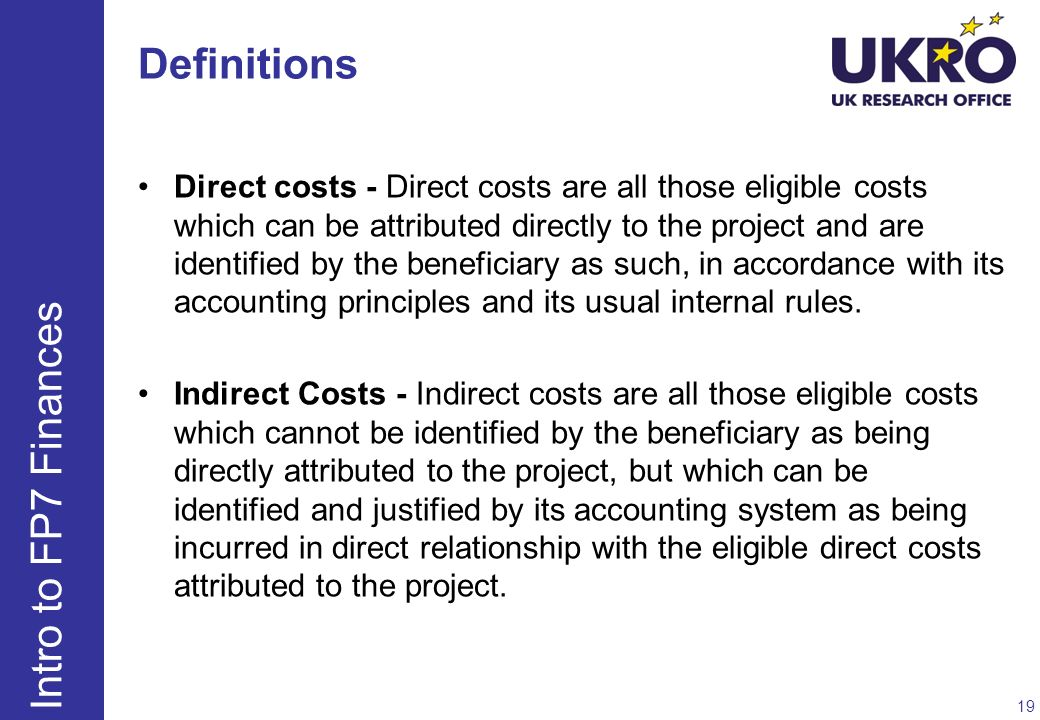 Definitions Intro to FP7 Finances