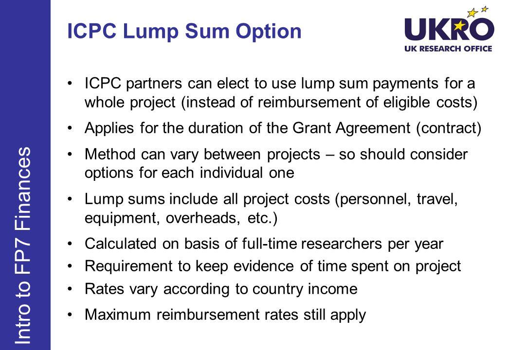 ICPC Lump Sum Option Intro to FP7 Finances