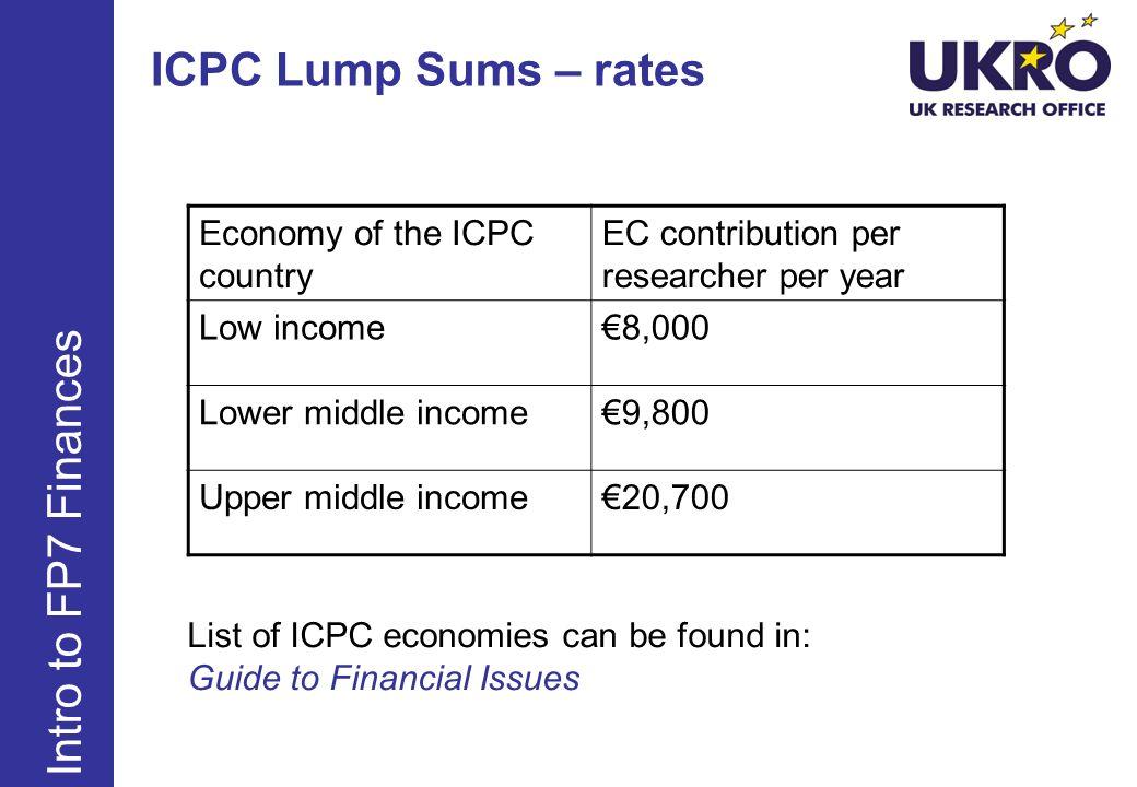 ICPC Lump Sums – rates Intro to FP7 Finances