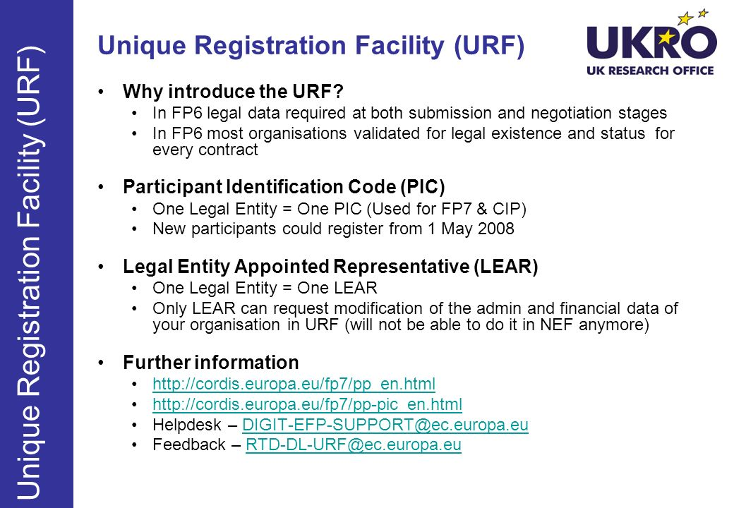 Unique Registration Facility (URF)